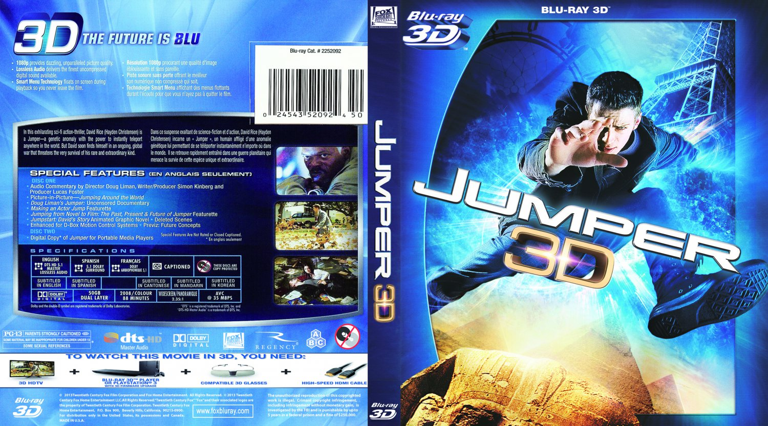 jumper movie blu ray custom covers jumper 3d custom. Black Bedroom Furniture Sets. Home Design Ideas