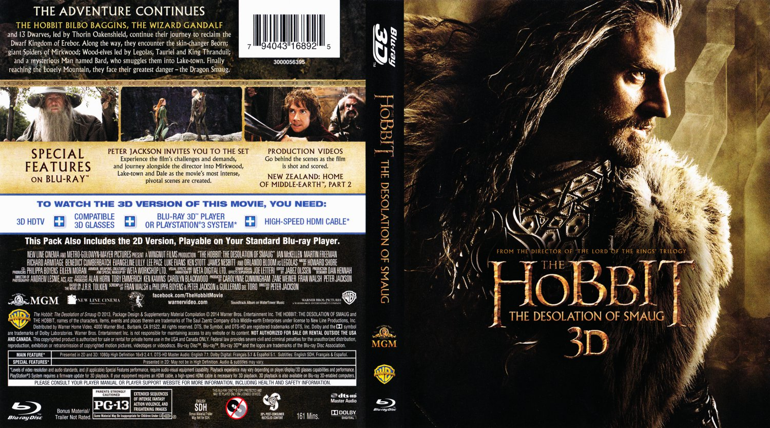 The Hobbit, The Desolation Of Smaug 3D - Movie Blu-Ray ...
