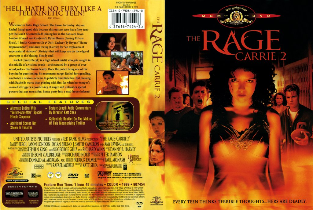 the rage carrie 2 movie dvd scanned covers the rage