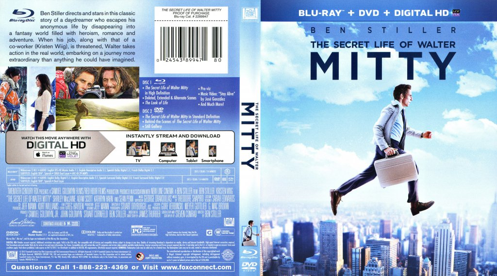 the secret life of walter mitty   movie blu ray scanned