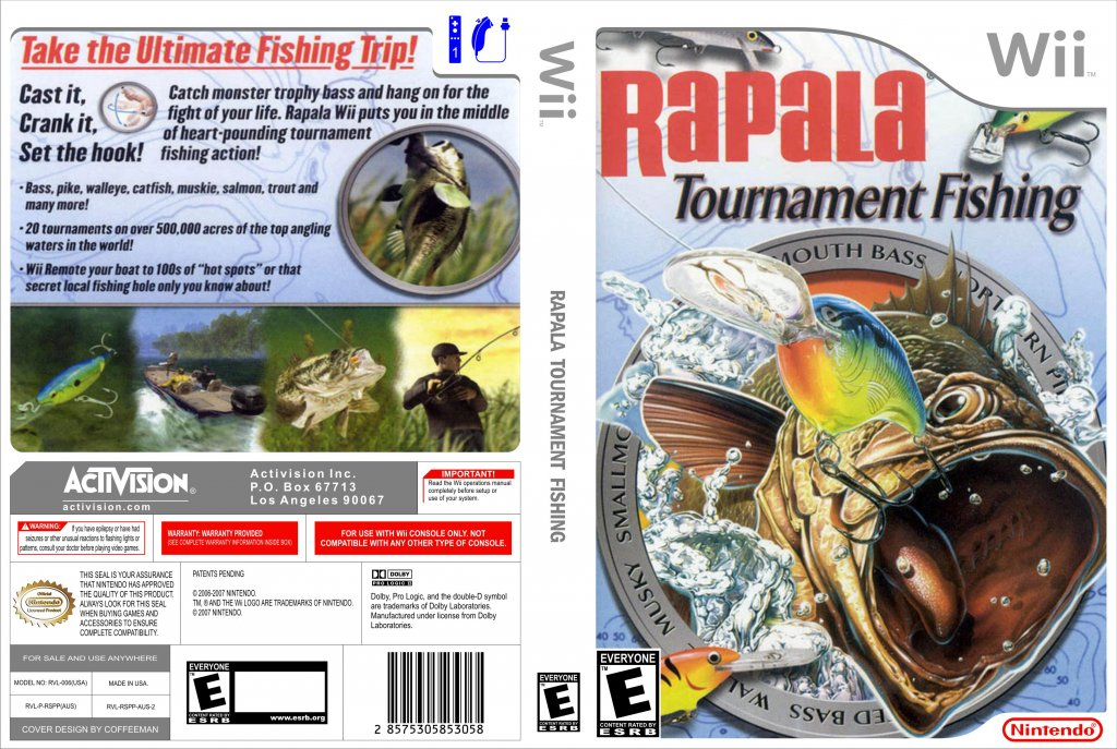 Rapala tournament fishing nintendo wii game covers for Wii fishing games