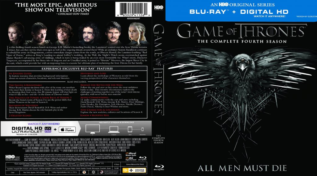 game of thrones season 4 tv blu ray scanned covers. Black Bedroom Furniture Sets. Home Design Ideas