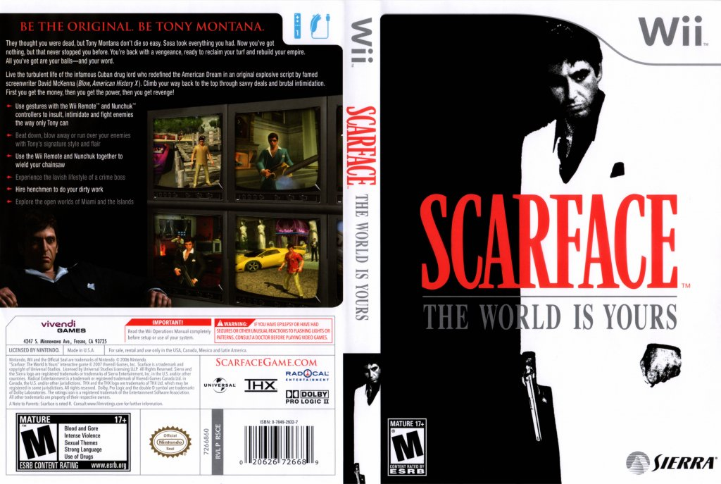 Wii scarface the world is yours palenglish martin