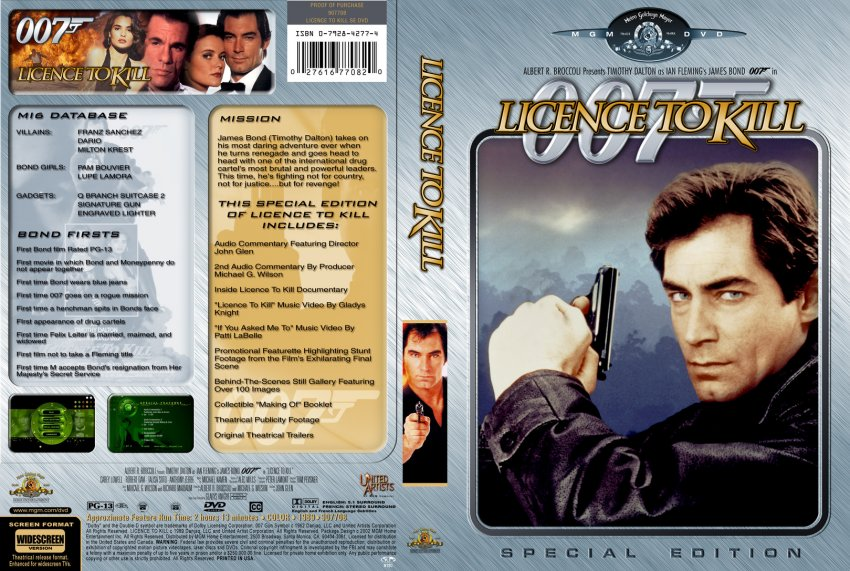 Licence to Kill - Movie DVD Custom Covers - 511111007 ...