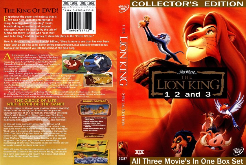 The Lion King 1994 Dvd - The Lion King 3 2004 SE R2 Gorgeous