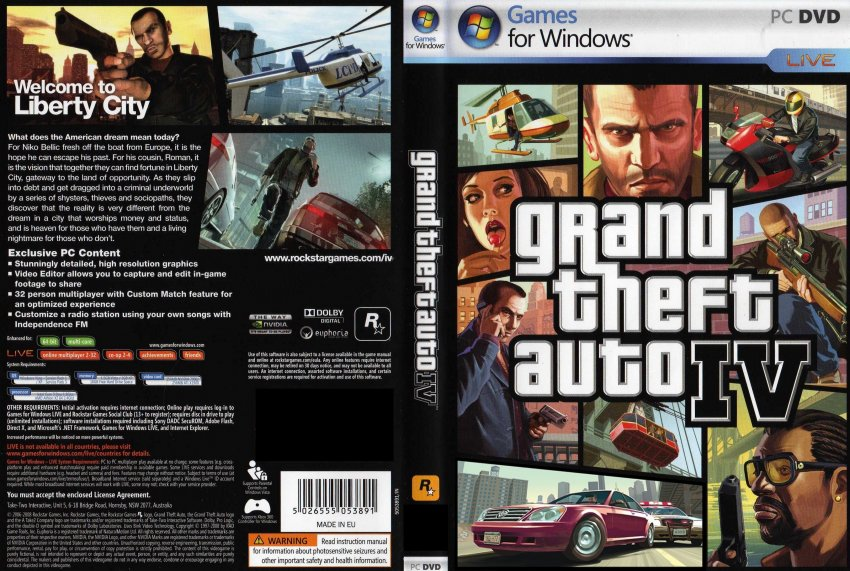Gta 6 Cover: Grand Theft Auto Iv Dvd 1 And 2 Player Cheats Xbox 360