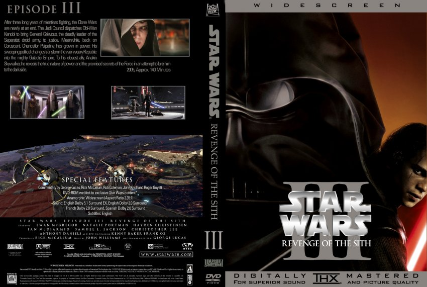 Star Wars III - Revenge Of the Sith - Movie DVD Custom ...