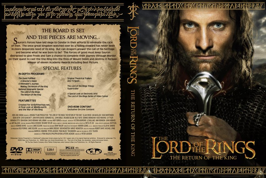 Lord of the Rings Return of the King - Movie DVD Custom ...