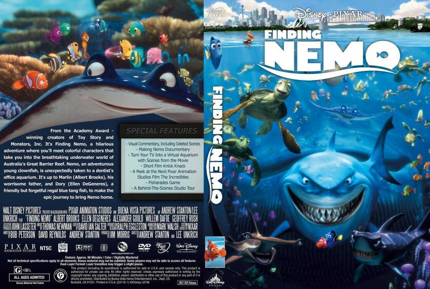 Finding Nemo - Movie DVD Custom Covers - Finding Nemo R1DB ...