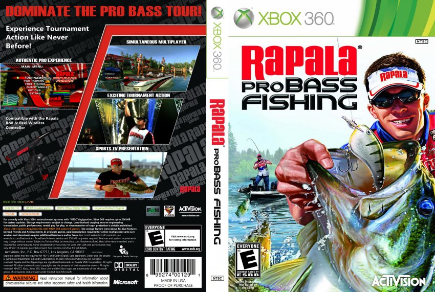 Rapala pro bass fishing xbox 360 game covers rapala for Xbox fishing games