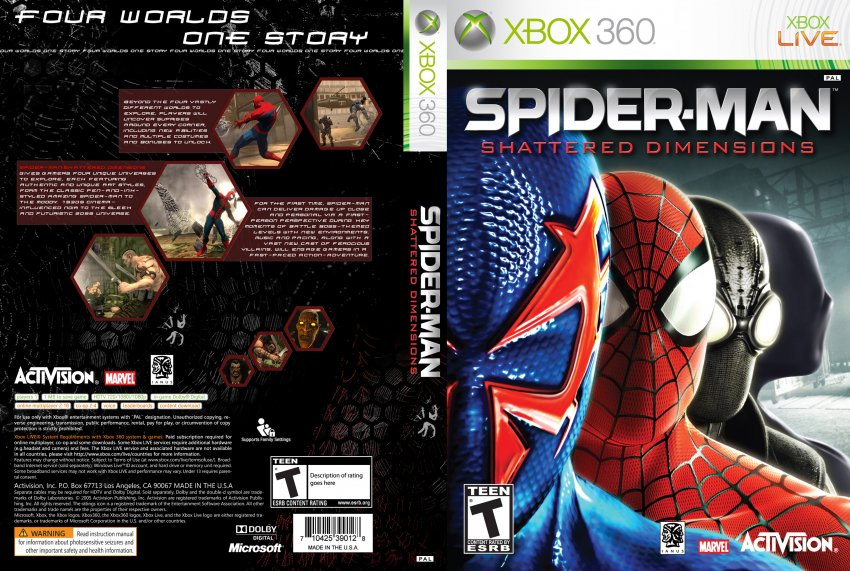 Spider-Man Shattered Dimensions - XBOX 360 Game Covers ...Xbox 360 Game Cover Dimensions