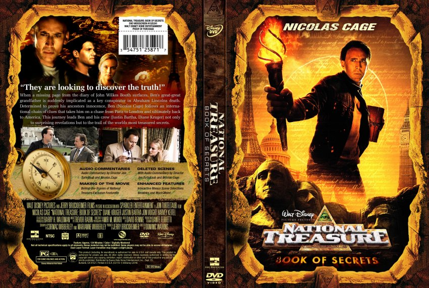 National Treasure: Book of Secrets - Movie DVD Custom ...
