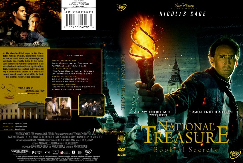 National Treasure - Book Of Secrets - Movie DVD Custom ...