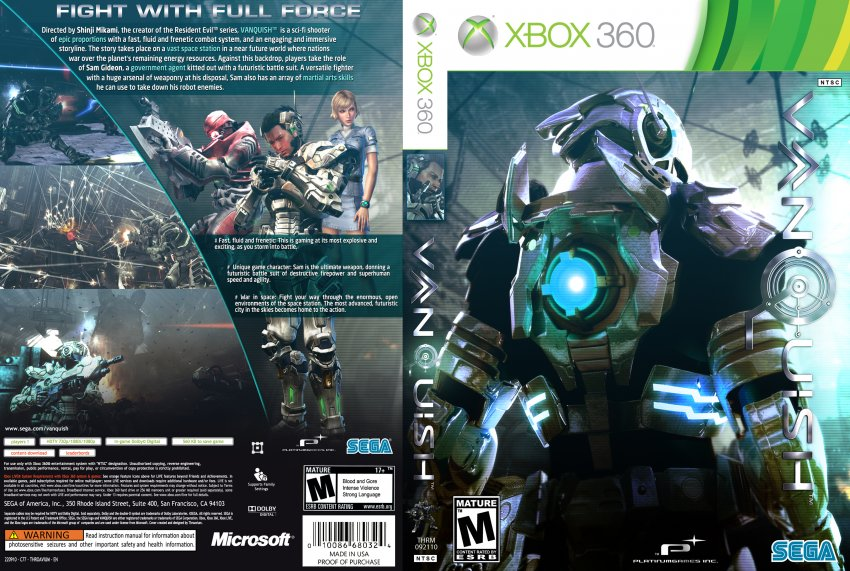 Vanquish - XBOX 360 Game Covers - Vanquish DVD NTSC Custom ...
