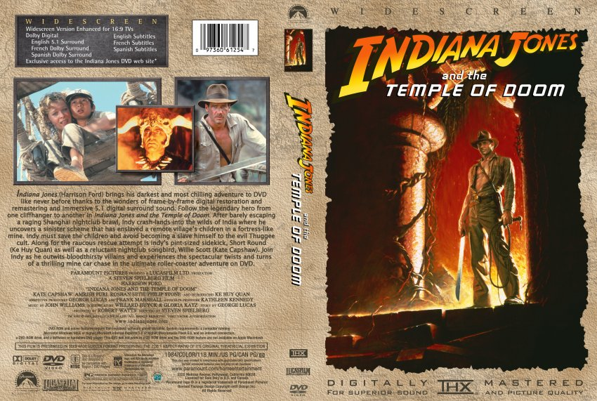 indiana jones and the temple of doom movie dvd custom