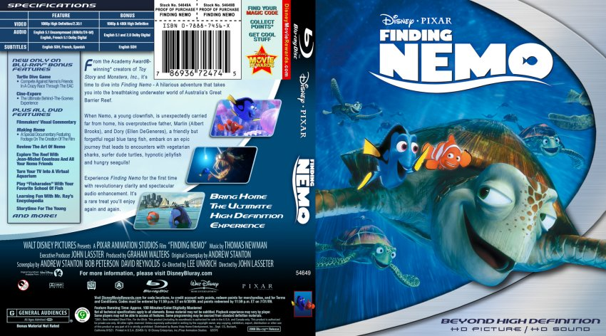 Finding Nemo - Movie Blu-Ray Custom Covers - Finding Nemo2 ...