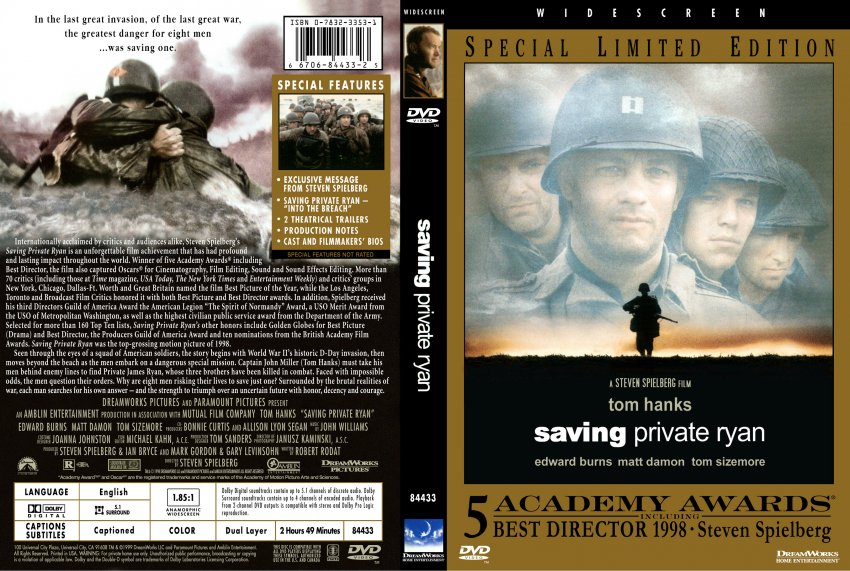 analysis of the movie saving private ryan directed by steven spielberg Analysis: saving private ryan, a film directed by steven spielberg, is truly one of the best, if not the best, war movies of all time this movie had its focus on risking lives of eight men for one man this type of point of view during the war is seen as sympathetic and make us better than the enemy.