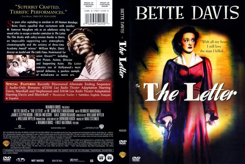 The Letter 1940 Movie DVD Scanned Covers The Letter