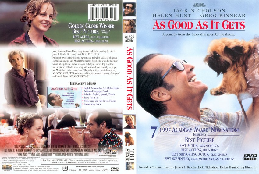 analysis of movie as good as it gets As good as it gets is a 1997 american romantic comedy film directed by james l brooksit stars jack nicholson as a misanthropic and obsessive-compulsive novelist, helen hunt as a single mother with a chronically ill son, and greg kinnear as a gay artist.