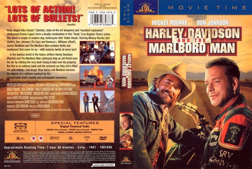 Harley Davidson And The Marlboro Man Movie Dvd Scanned Covers