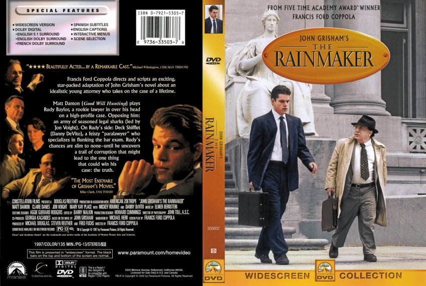 the rainmake film review Movie reviews reviewed by chris brown (chrisbrown6453) 7 a story about an aspiring young and of course devito and damon carried the film i had my doubts about damon playing a lawyer, but the rainmaker was more about the performances than the story and the performances won me over.