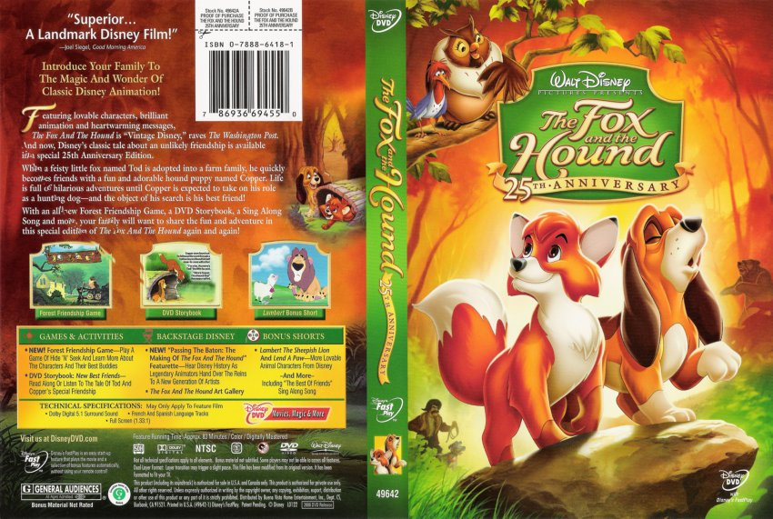 Fox And The Hound, The - 25th Anniversary - Movie DVD Scanned Covers