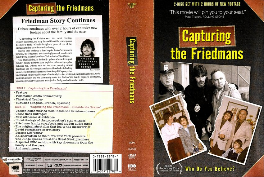 capturing the friedmans problems of truth essay Andrew jarecki, capturing the friedmans (2003) hayden white, historical emplotment and the problem of truth in historical representation (1999) linda williams, mirrors without memories (1998.