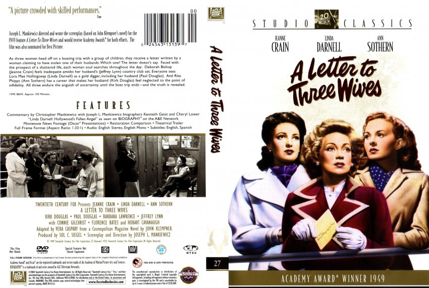 a letter to three wives a letter to three dvd scanned covers a 12482
