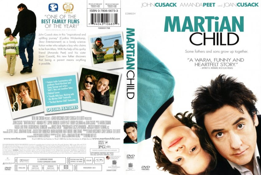 """martian child According to the closing credits, the weepy, melodramatically indulgent dramedy  martian child is """"based on a true story"""" only """"the characters."""